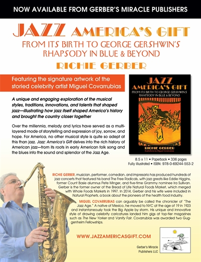 Sales Sheet for book Jazz: America's Gift - by Richie Gerber, Musician and Health Food Pioineer
